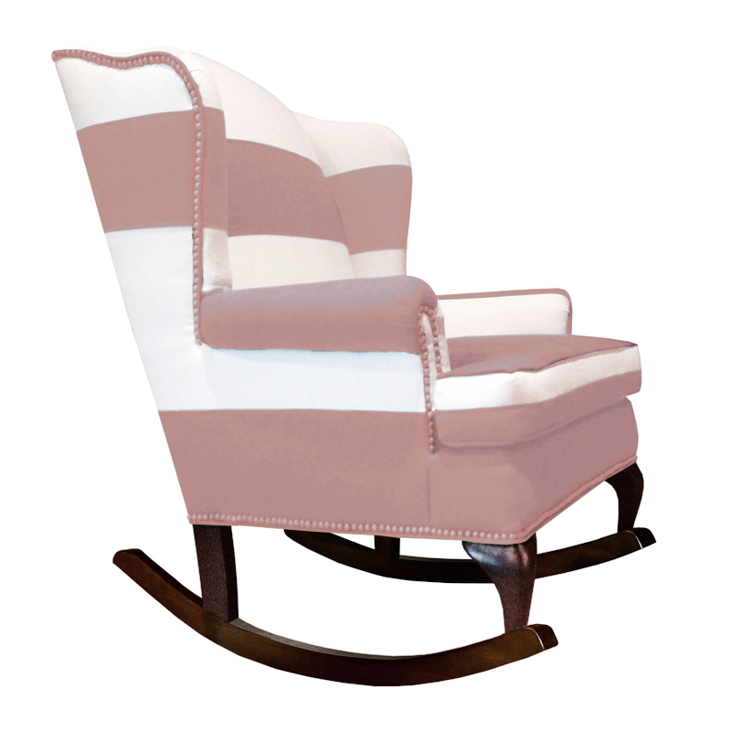 rose pink and white traditional wingback rocking chair with nailhead trim