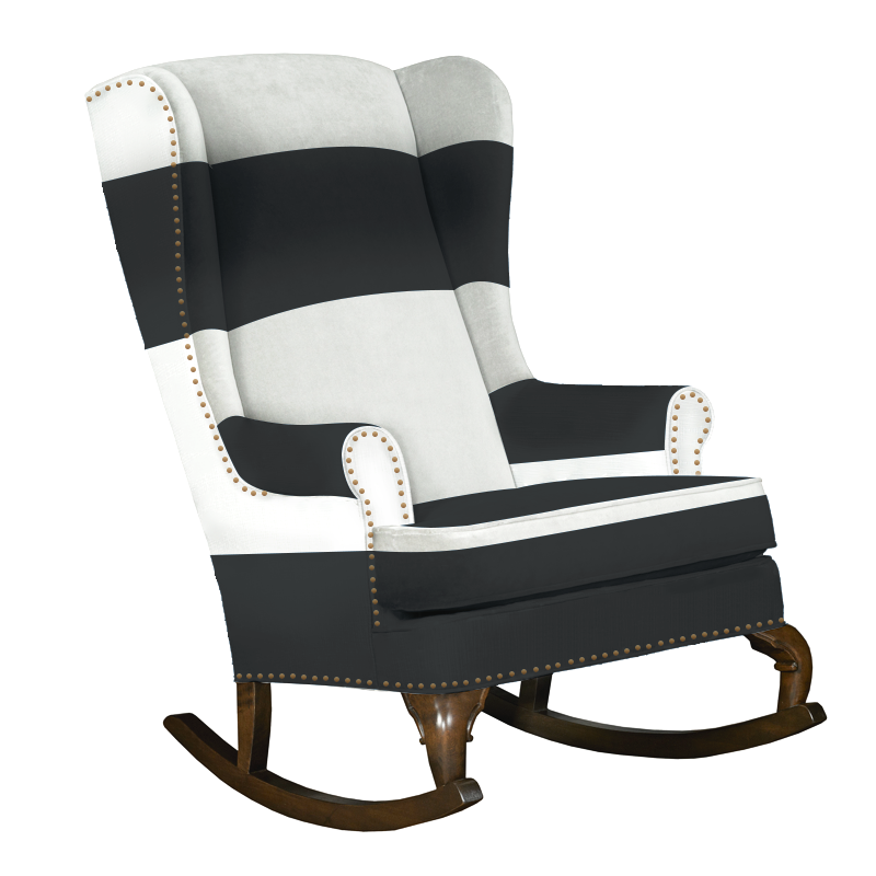 black and white traditional wingback rocking chair with nailhead trim