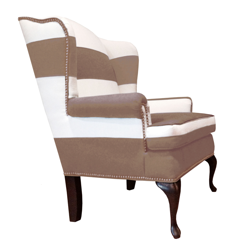 Traditional And Modern Taupe And White Striped Wingback Chair With  Nailheads ...