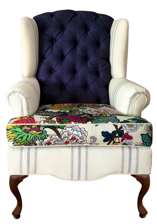 modern floral and stripes traditional wingback chair custom upholstery navy and cream creme
