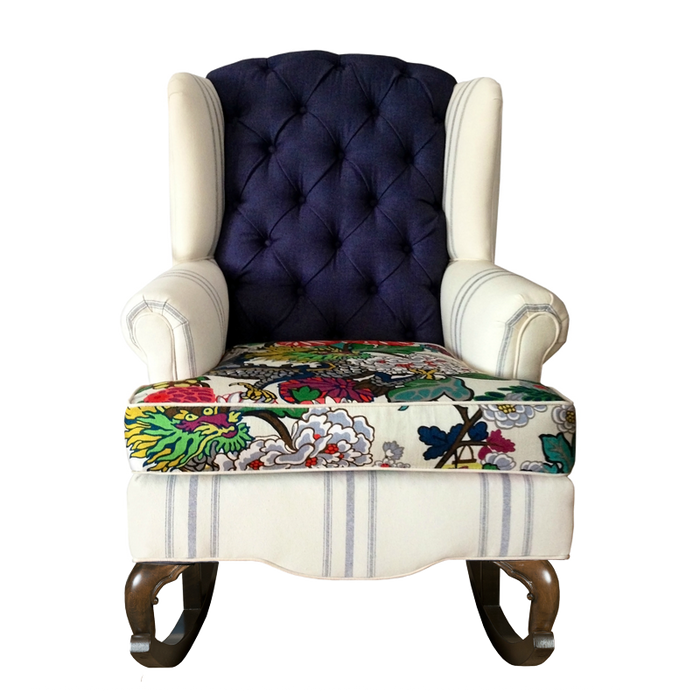 stripes and floral linen and velvet modern mixed textiles rocking chair