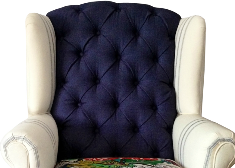 navy and railroad stripe traditional wingback rocking chair