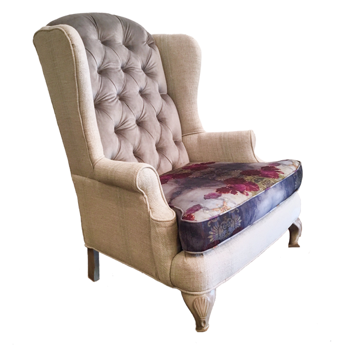 Josephine Chair modern floral with lilac purple magenta accent chair