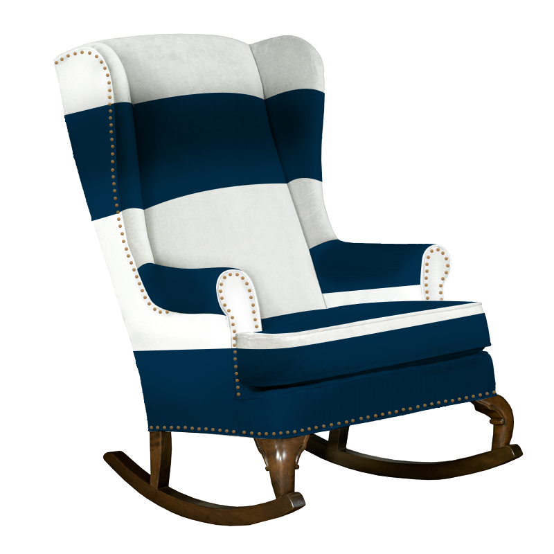 Francoise Rocker; Navy And White Traditional Wingback Rocking Chair With  Nailhead Trim ...