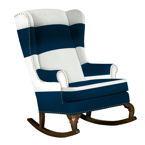 Navy and white traditional wingback rocking chair with nailhead trim