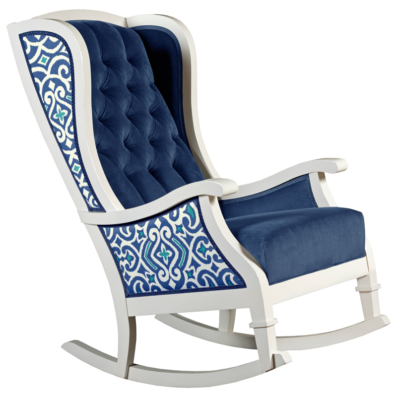 Charmant ... Blue And White Trellis Tufted Velvet Traditional Nursery Room Decor Rocking  Chair ...