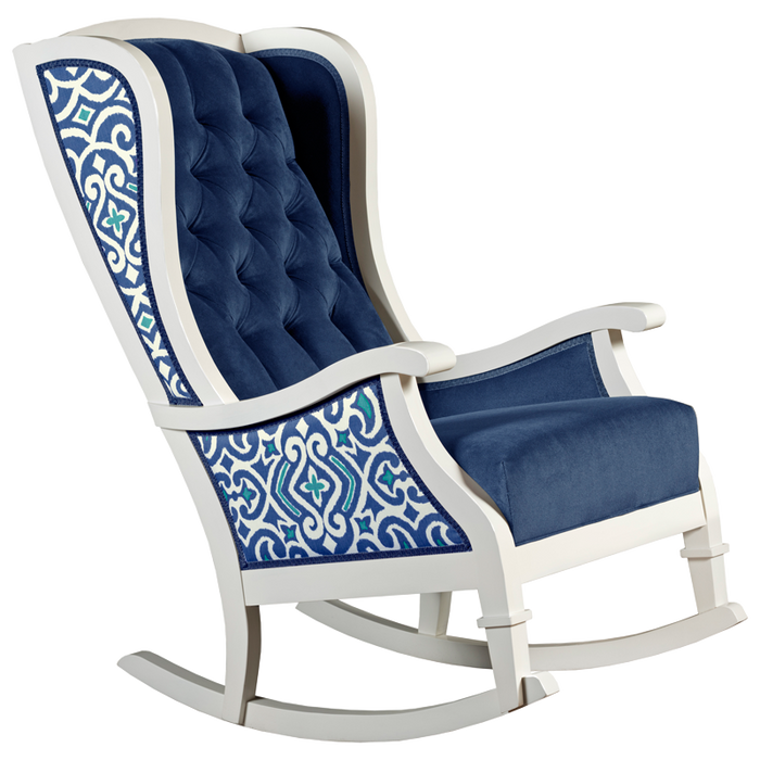 blue and white trellis tufted velvet traditional nursery room decor rocking chair