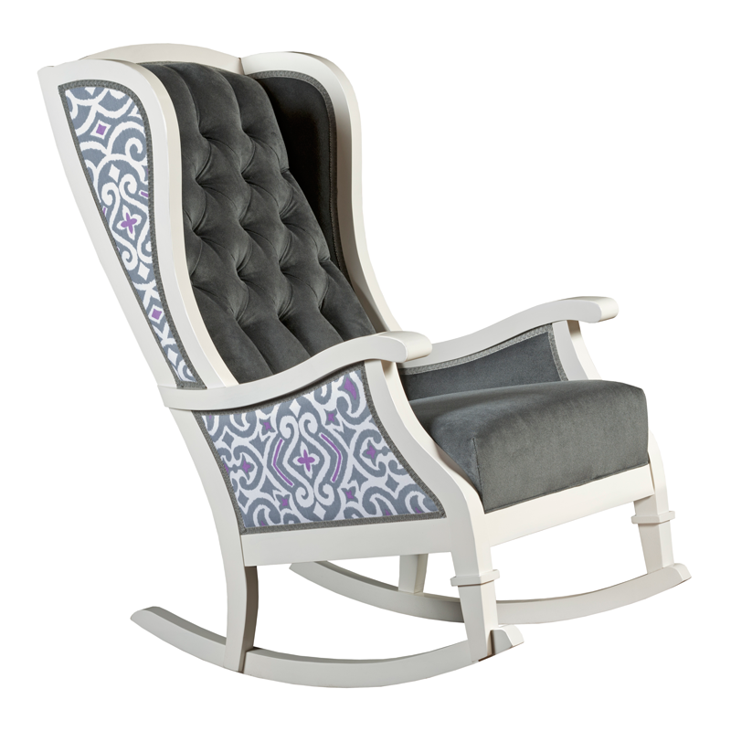 grey purple white trellis tufted velvet traditional nursery room decor rocking chair