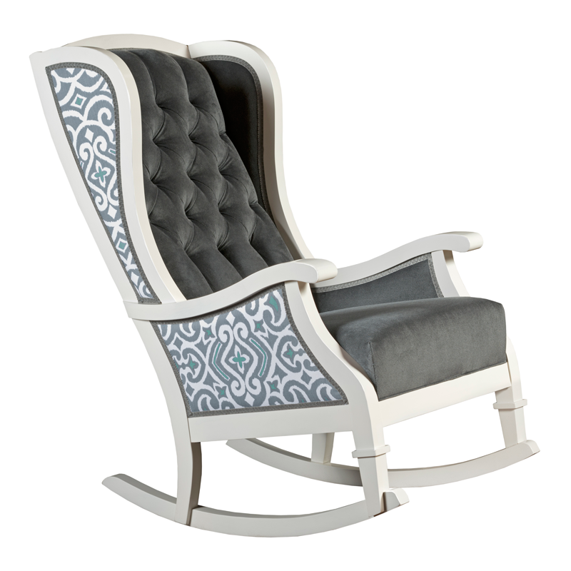 grey teal white trellis tufted velvet traditional nursery room decor rocking chair