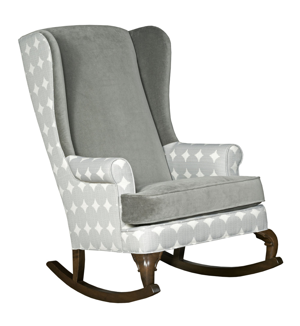 Grey polka dot gender neutral rocking chair gender reveal party grey nursery decor