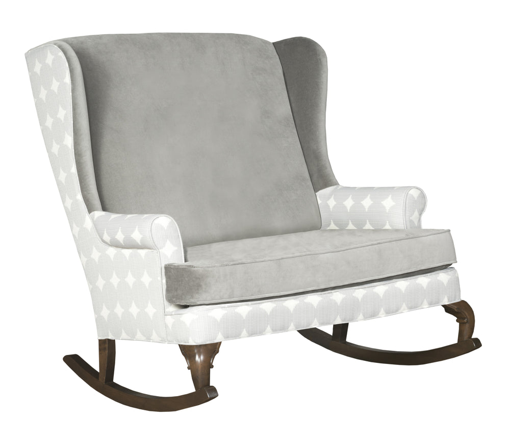 Ziggy Double Rocker; Extra Wide Rocking Chair Double Wide Grey Velvet  Neutral Gender Nursery Decor ...
