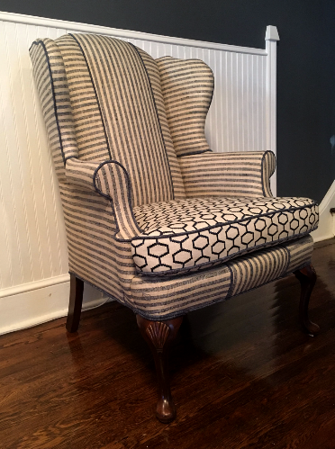geometric wingback chair traditional design