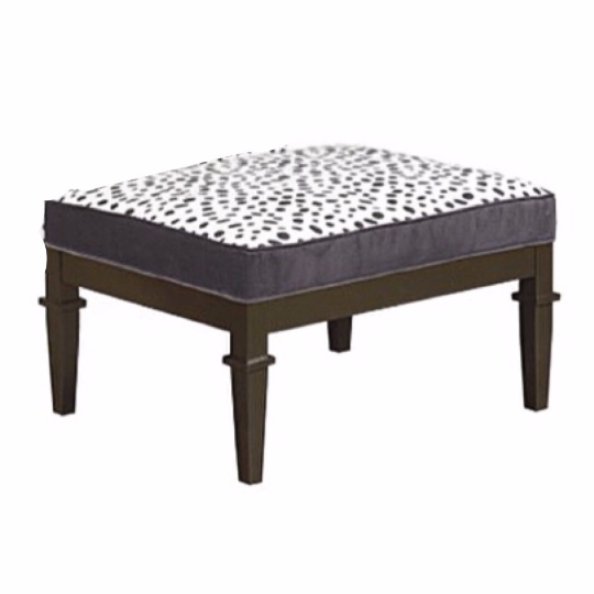 dalmation print black and white ottoman with espresso wood finish