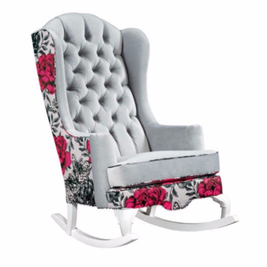 bright pink rose and grey modern nursery rocking chair vintage botanical tufted velvet
