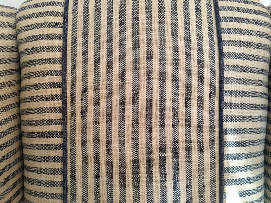 Linen silk blend custom upholstery stripes geometric chair
