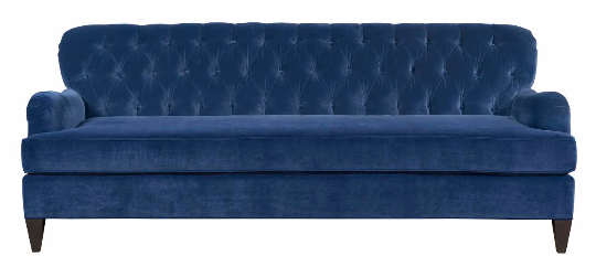 blue velvet sofa tufted english roll arms
