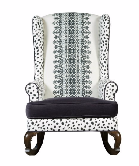 bohemian embroidered wingback rocking chair black and white