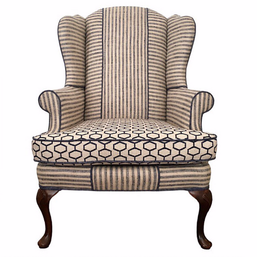 navy and flax linen geometric classic wingback chair