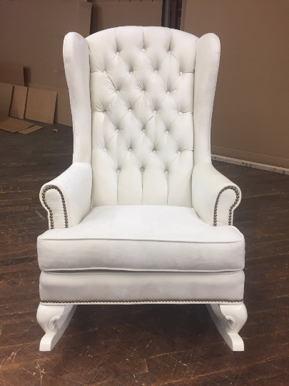 ivory traditional wingback rocking chair nursery design