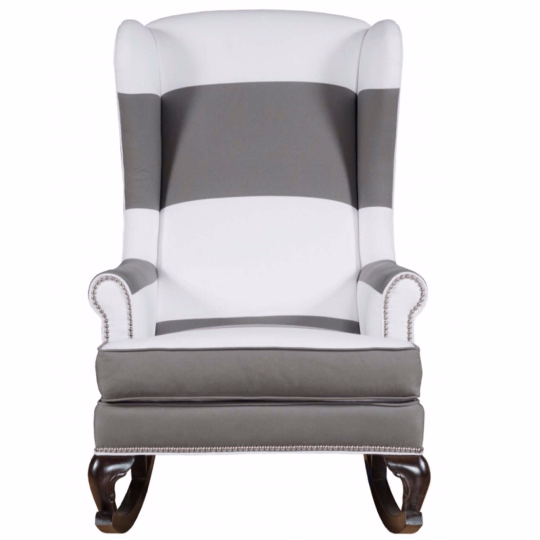 light grey and white traditional wingback rocking chair with nailhead trim