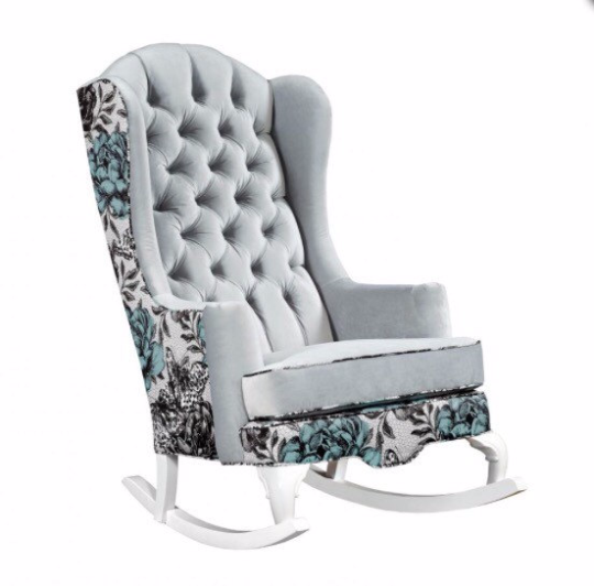 aqua blue and grey modern nursery rocking chair vintage botanical tufted velvet
