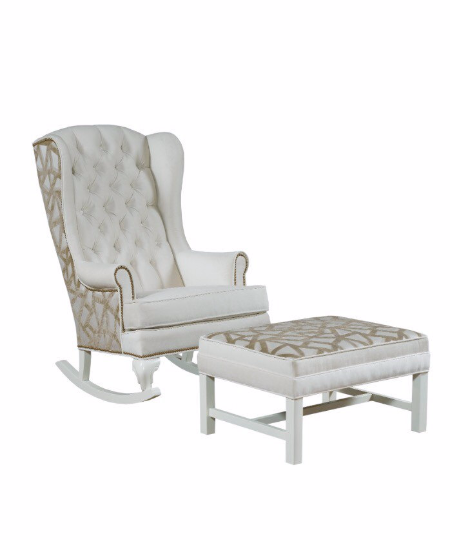 Harrison Rocker and Ottoman set cream ivory creme velvet with tan geometric designs classic traditional design
