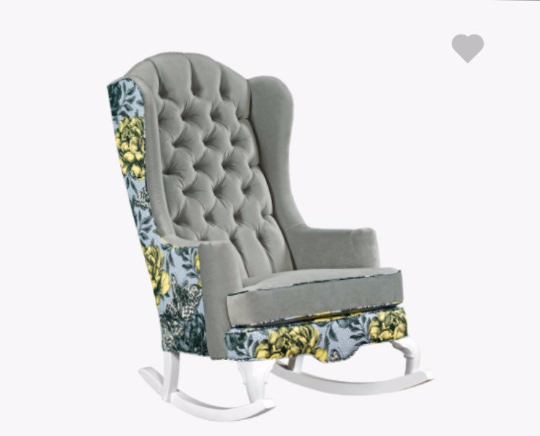 Yellow and grey modern nursery rocking chair vintage botanical tufted velvet