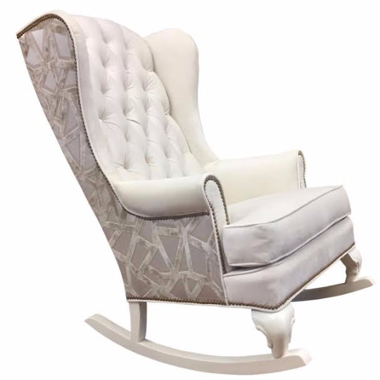 Creme and tan velvet modern rocking chair nursery decor