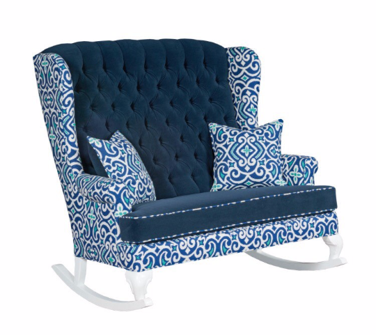 double blue and white velvet tufted double rocking chair with matching ottoman nursery decor for twin boys
