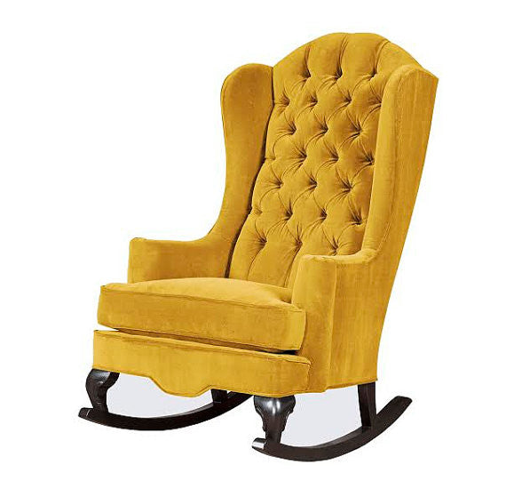 mustard Fitzgerald wingback tufted velvet rocking chair