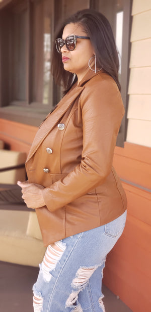 Naomi Leatherette Button Blazer Jacket