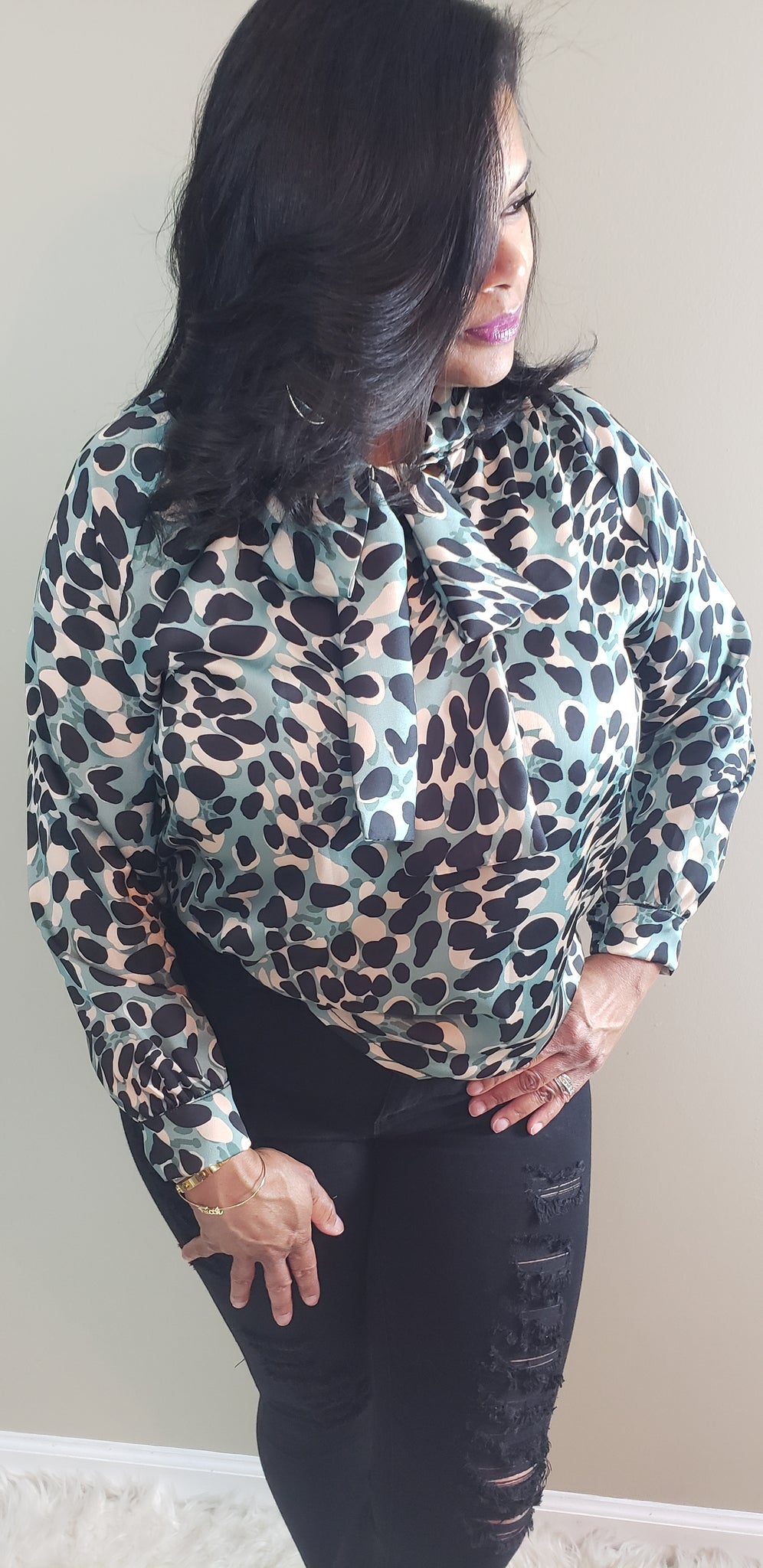 Andrea Animal Printed Bowtie Blouse