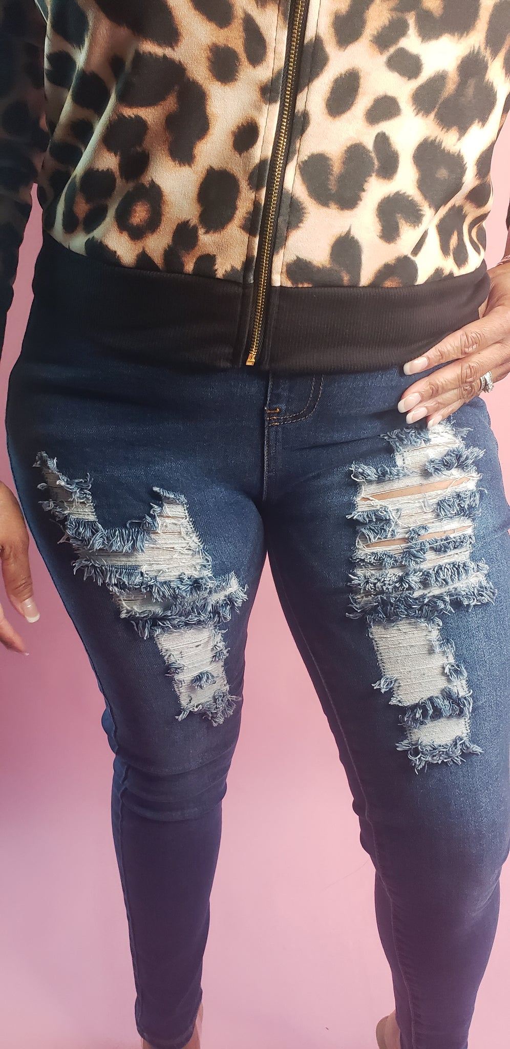 High Waist Distressed Denim Joggers