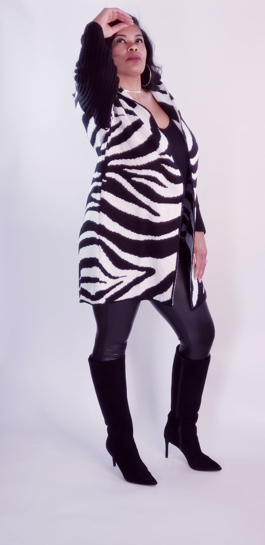 ELENA ZEBRA PRINTED HOODED CARDIGAN