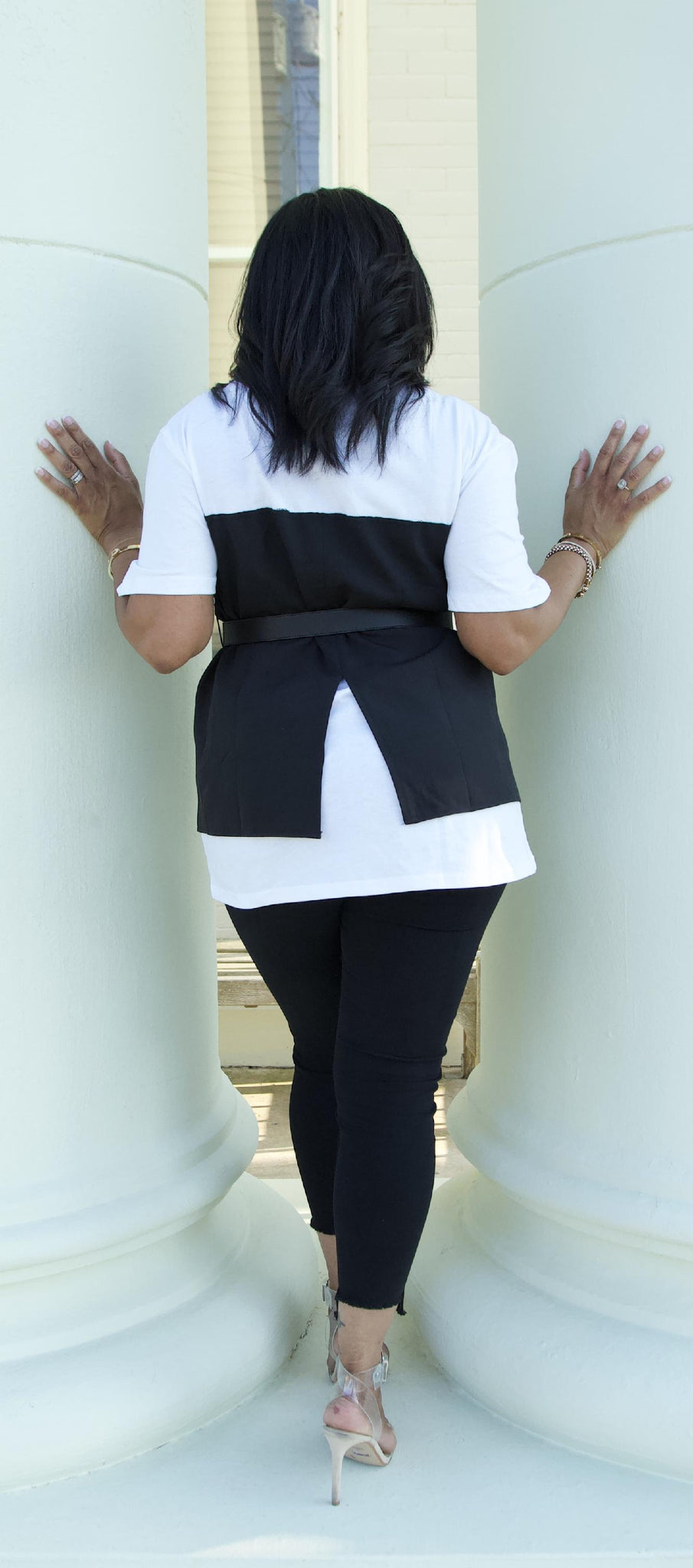 Black and White Belted V Neck Sewn Two Piece