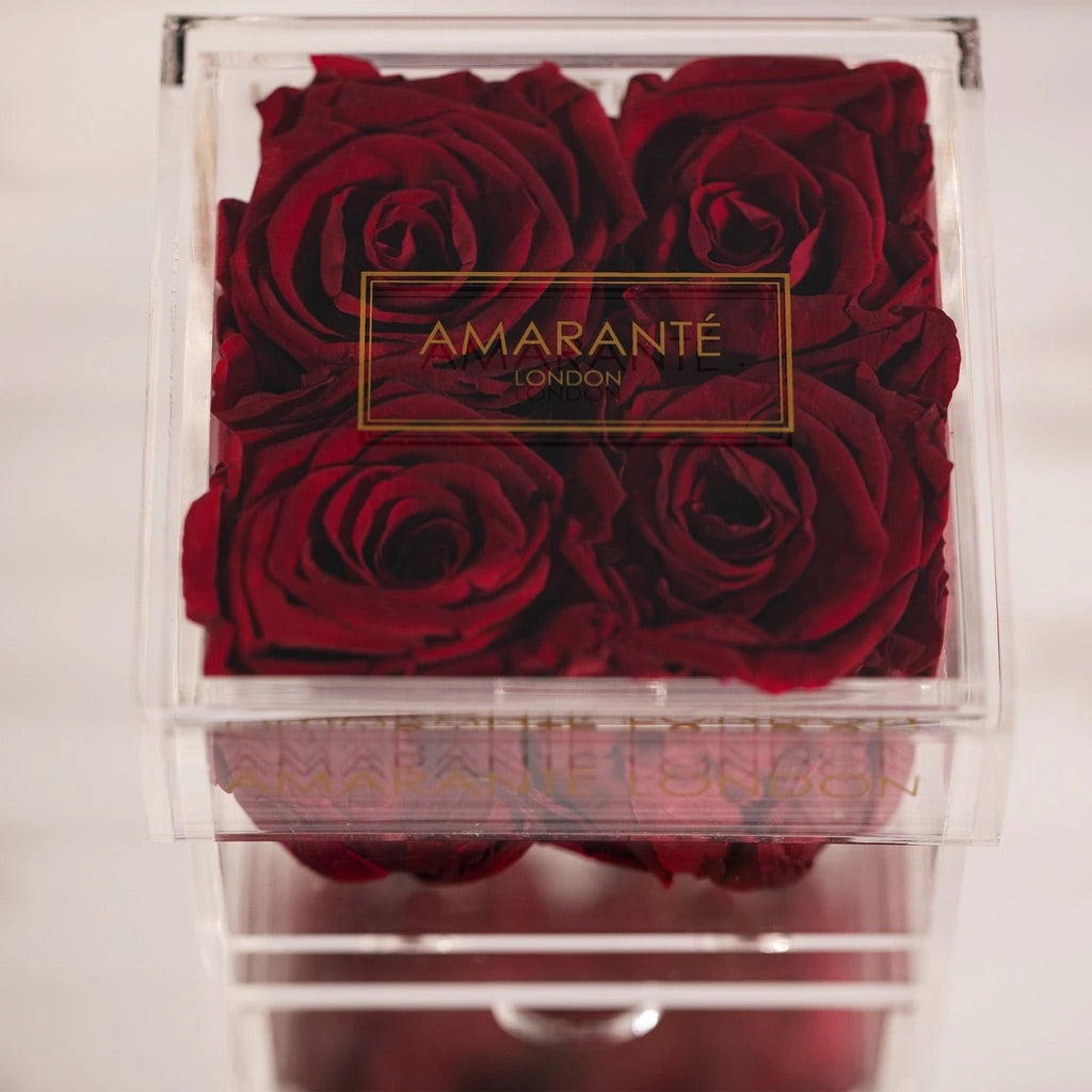 4 vibrant red eternal roses in jewellery box