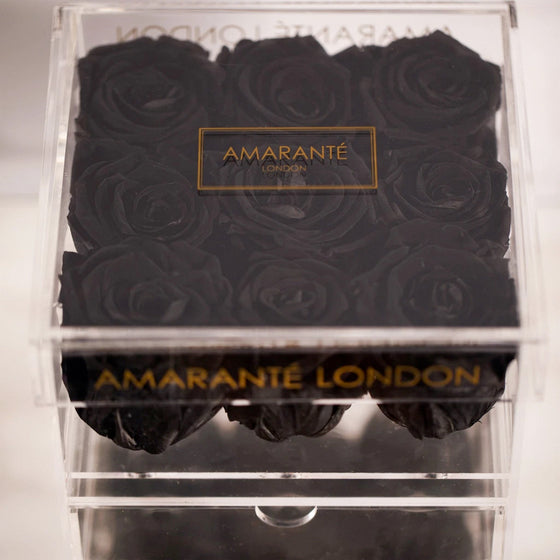 Black Forever Roses in Jewellery Box