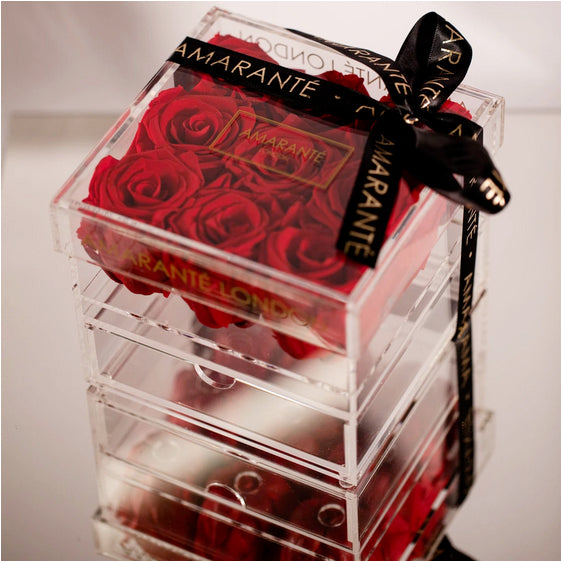 Nine eternal roses in acrylic jewellery box - Amaranté London