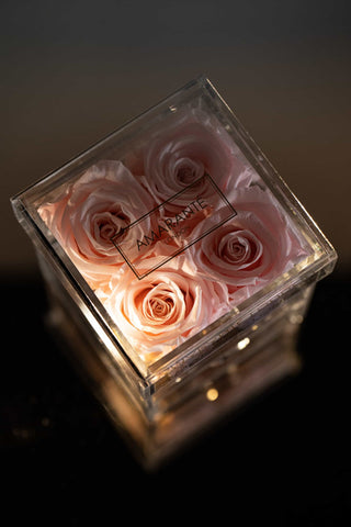 Pink Forever Roses in jewelry box