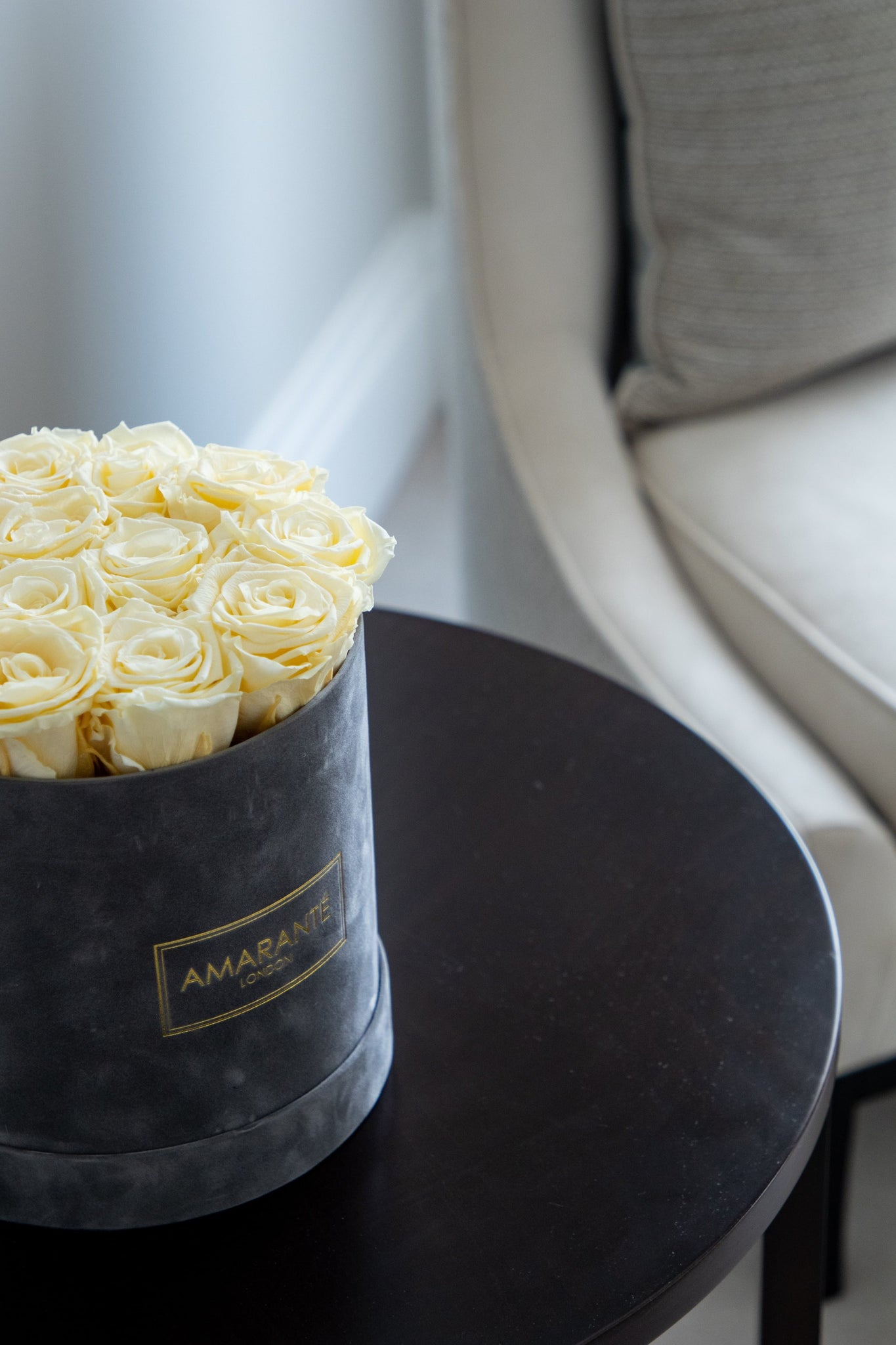 detailed view of infinity roses hatbox, elegant grey suede