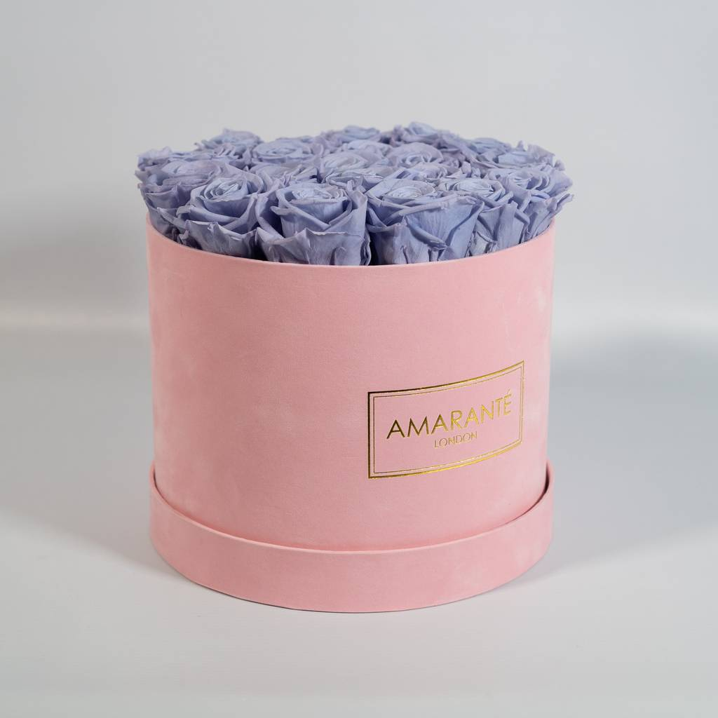Lavendar Infinity Roses in a hatbox