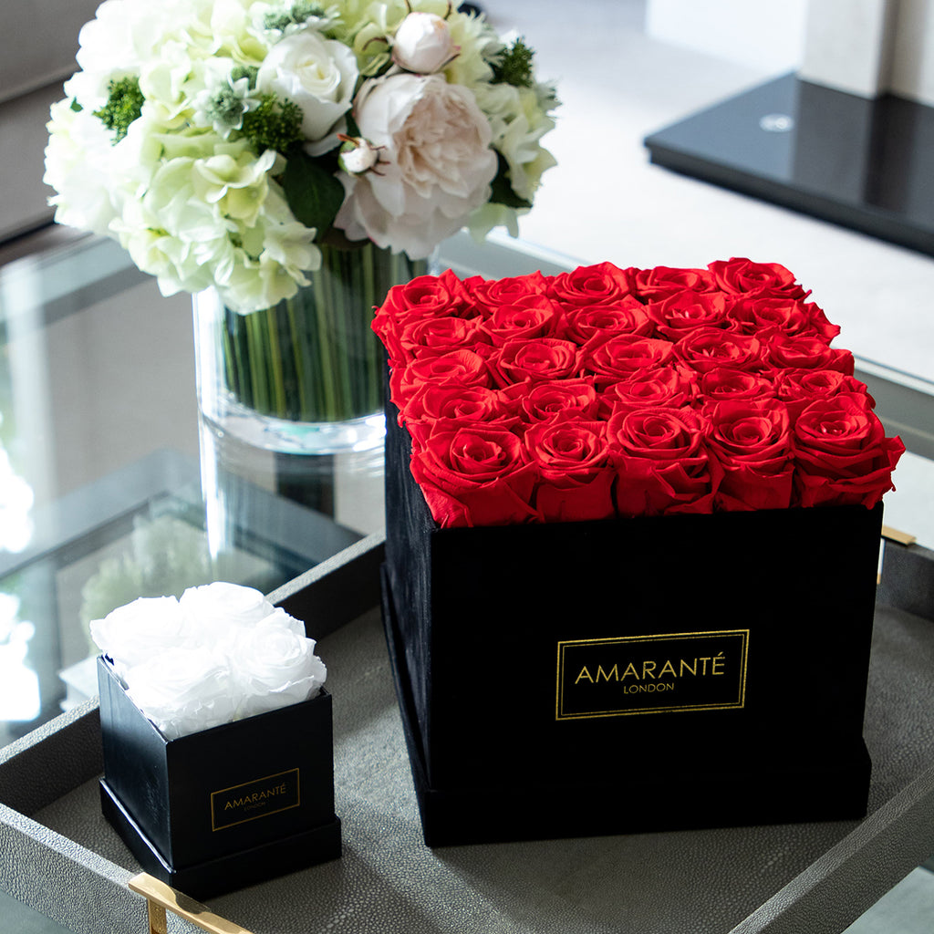 Black suede elegant rose boxes with Infinity Roses