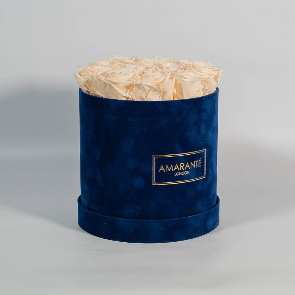 Champagne Infinity Roses in Blue Suede Hatbox