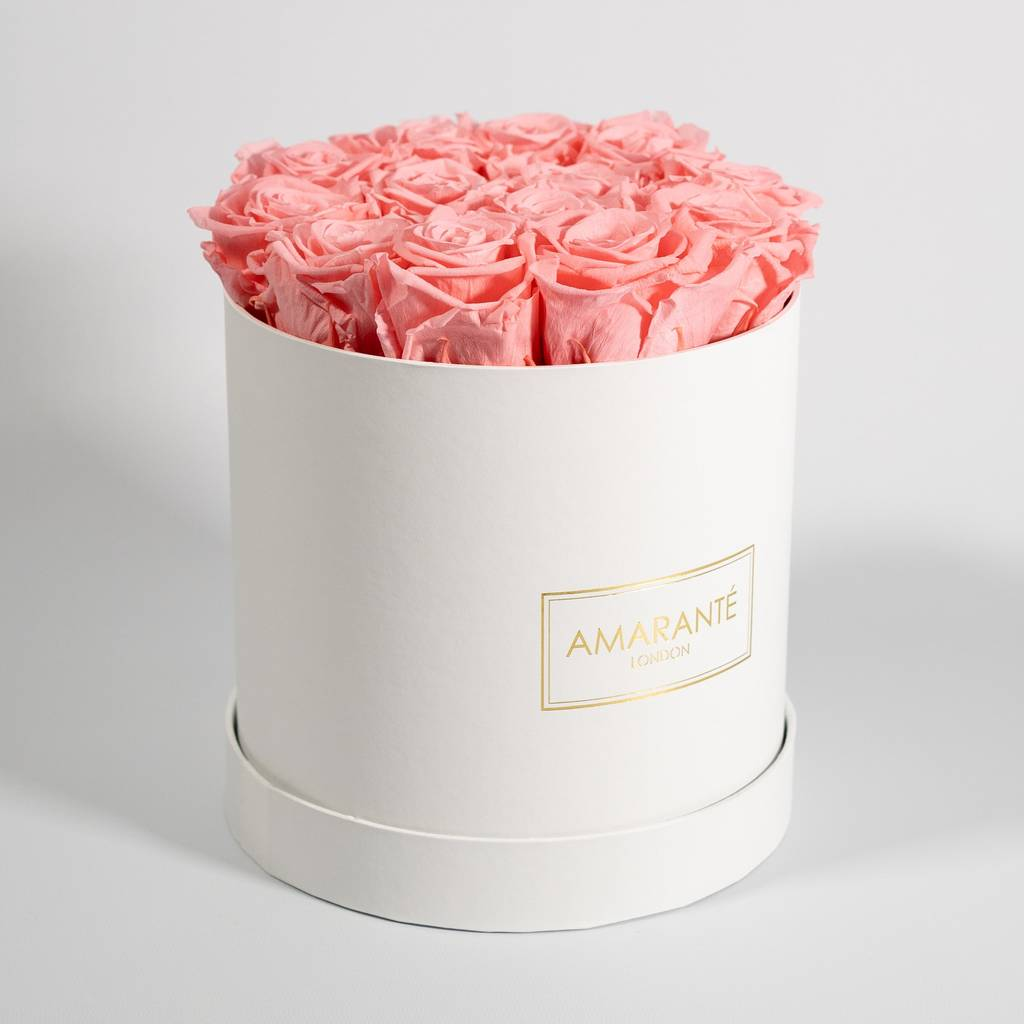 Wedding anniversary rose box, square shape, containing light pink roses