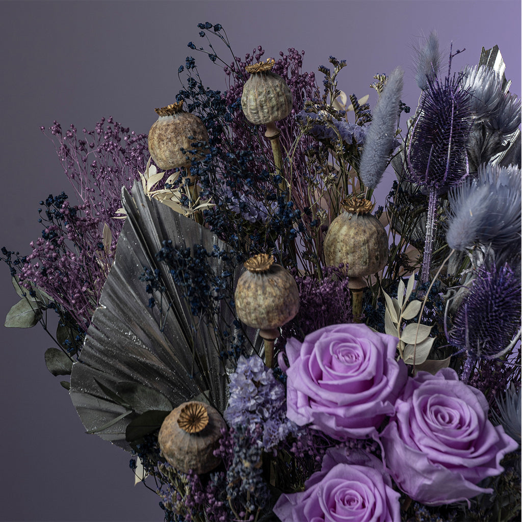 Dried floral arrangements, the stunning large Lilac Skies Bouquet