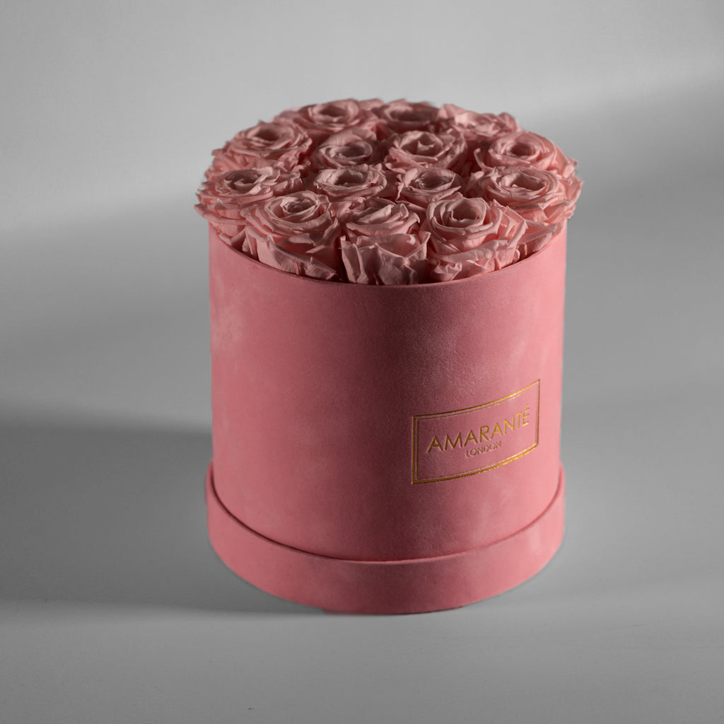 Pink infinity roses in pink suede hatbox