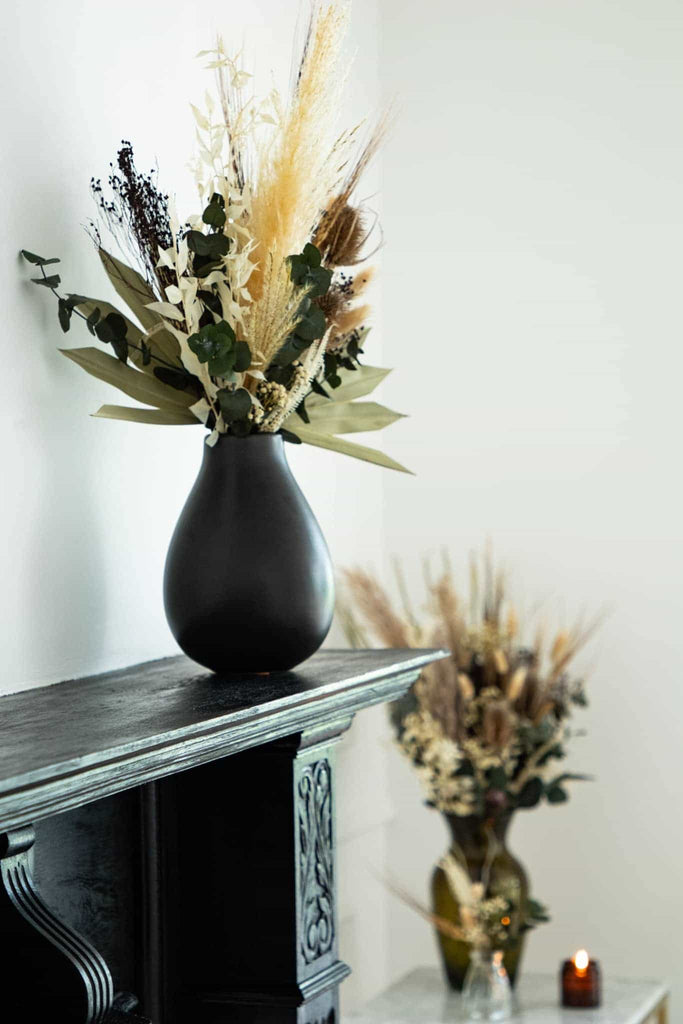 Angled view of the dried flower bouquet