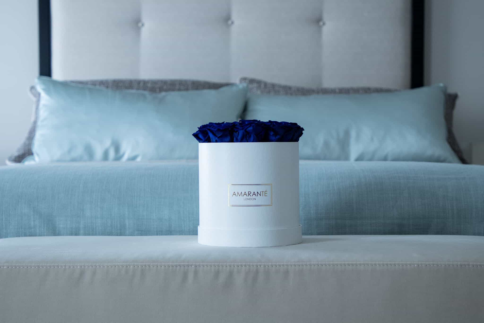 Royal Blue Forever Roses in a Hatbox - Amaranté London Preserved Roses