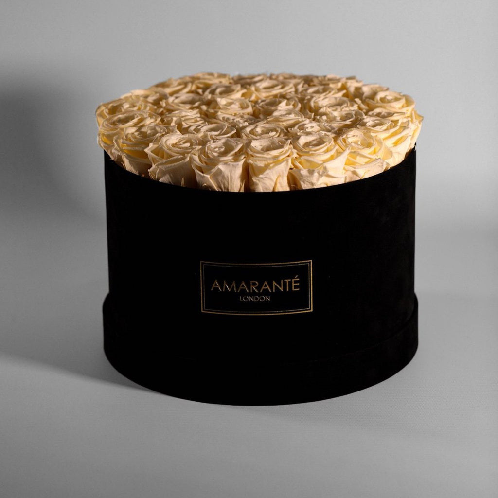 Champagne eternal roses in large round black hatbox, large size