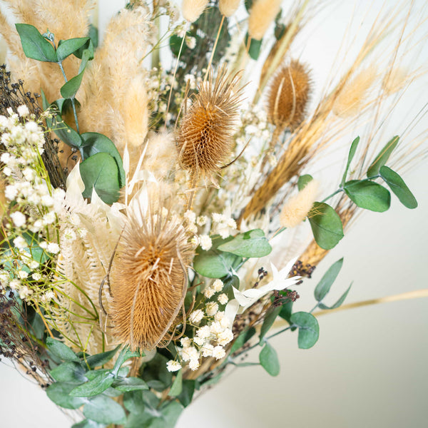 dried lagurus, dried hydrangeas and other dried blooms